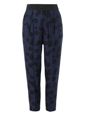 Charlotte polka-dot-jacquard trousers