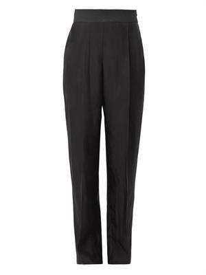 Spot-jacquard trousers