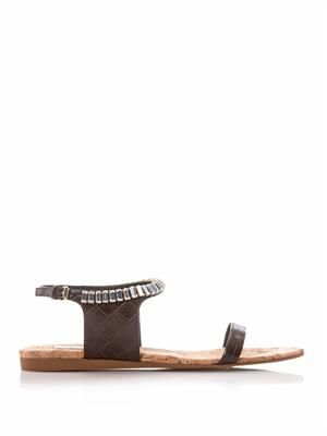Chocolate-brown crystal sandals