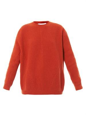 Ribbed knit wool sweater