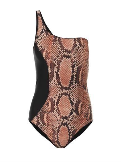 Stella McCartney One-shoulder snake-print swimsuit