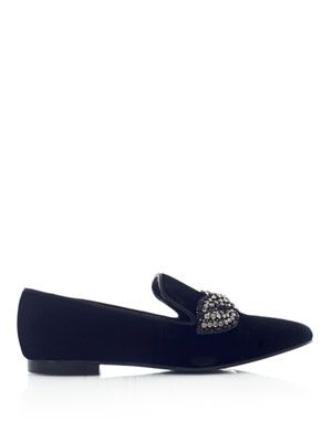 Crystal embellished velvet slippers