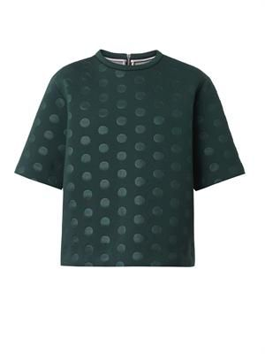 Polka-dot-embossed neoprene top