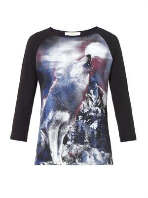 Howling Wolf-print T-shirt