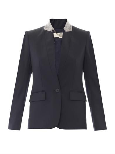 Stella McCartney Fleur felt-collar wool jacket