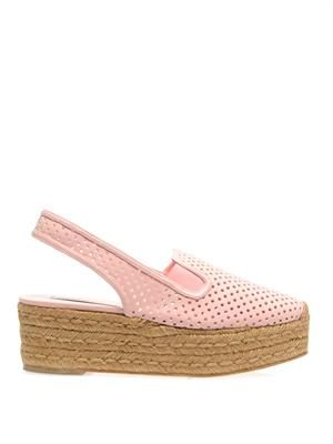 Perforated faux-leather espadrilles