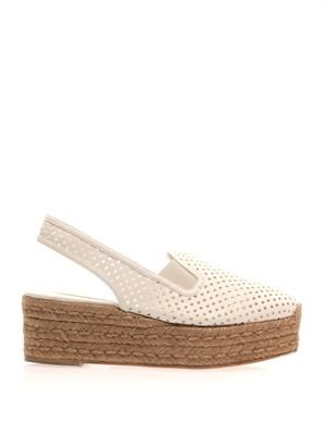 Perforated faux-leather wedge espadrilles