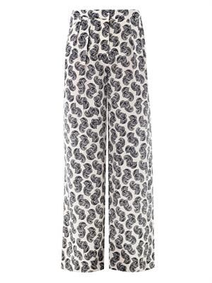 Patricia floral feather-print trousers