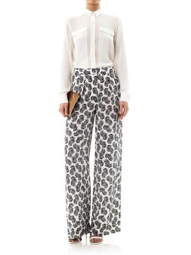 Stella McCartney Patricia floral feather-print trousers
