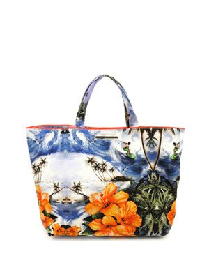 Hawaiian-print cotton bag