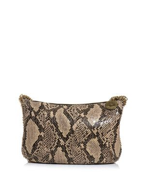 Faux python cross-over hobo bag