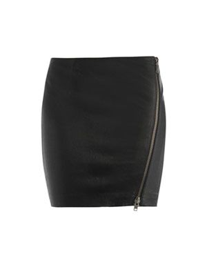 Asymmetrical zip leather skirt