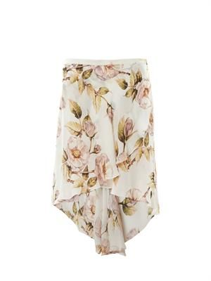 Thorn floral-print asymmetric skirt