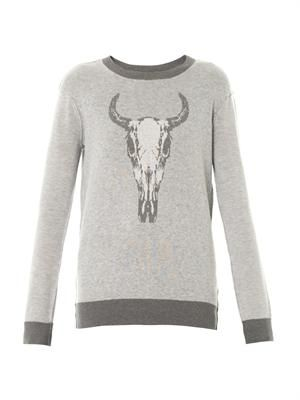 Longhorn intarsia-knit sweater