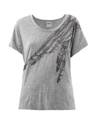 Embellished feather-print T-shirt