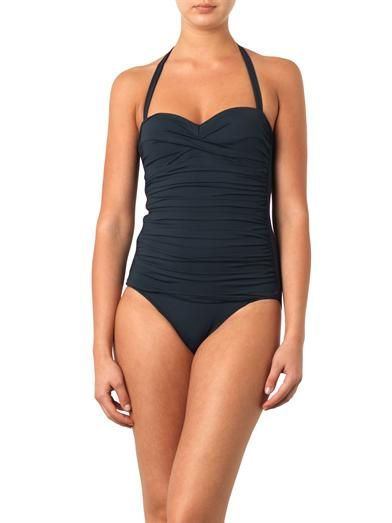 Heidi Klein Ravello ruched bandeau control swimsuit