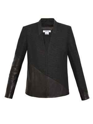 Asymmetrical leather panel blazer