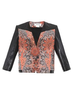 Medallion-jacquard leather jacket