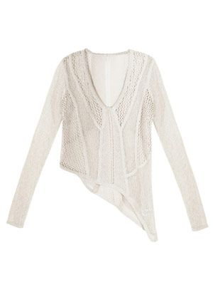 Smooth web openwork sweater