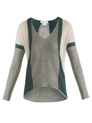 Bi-colour panelled sweater