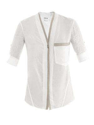 Mist leather-trim shirt