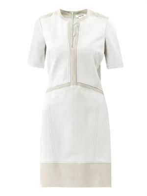 Motion slash-neck panel dress