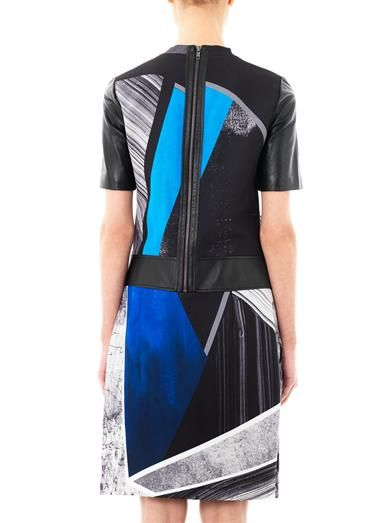 Helmut Lang Fracture-print crepe & leather dress