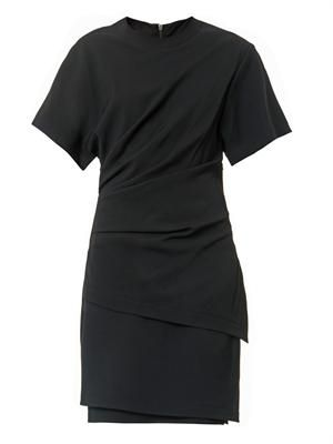 Draped-front stretch-crepe dress