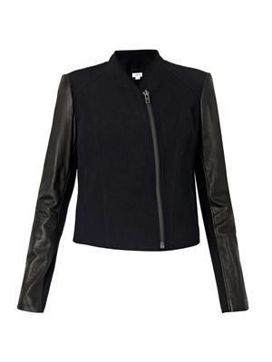 Eon leather-sleeve zip-front jacket