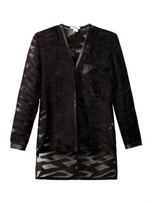 Leather-trim sheer jacquard blouse