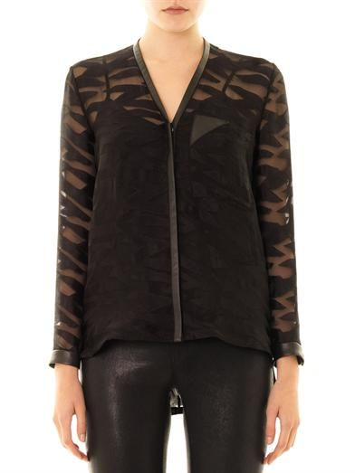 Helmut Lang Leather-trim sheer jacquard blouse