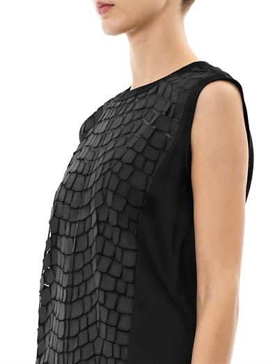 Helmut Lang Leather patchwork sheer top.