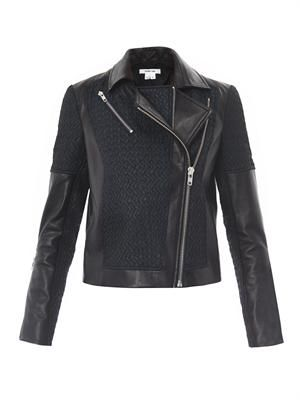 Leather jacquard crop biker jacket