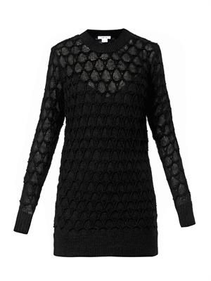 Corded lace-knit sweater