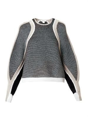 Converging-panels sweater