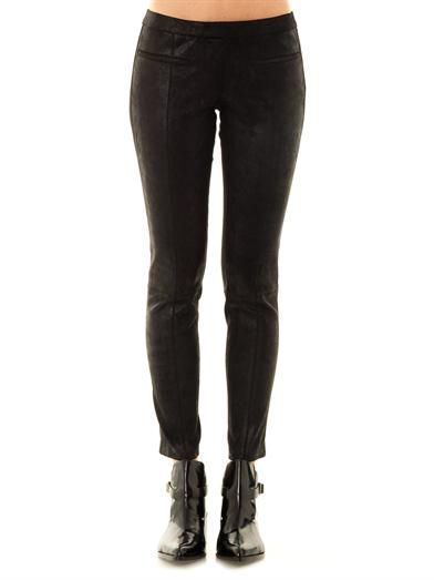 Helmut Lang Patina leather stovepipe trousers