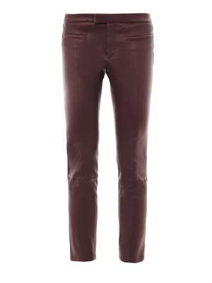 Cropped stovepipe leather trousers