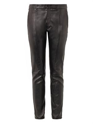 Stretch-leather skinny trousers