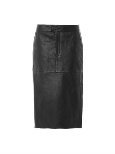 Helmut Lang Leather midi skirt