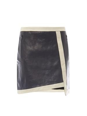 Evolution contrast trim leather skirt