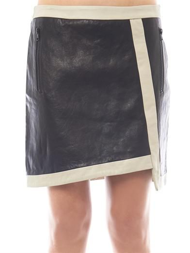 Helmut Lang Evolution contrast trim leather skirt