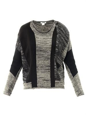 Block melange panel sweater