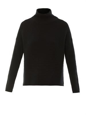 Cash horizontal ribbed-knit sweater