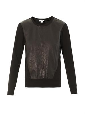Motion leather combo sweatshirt