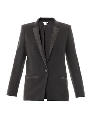 Noa fractal leather lapel jacket