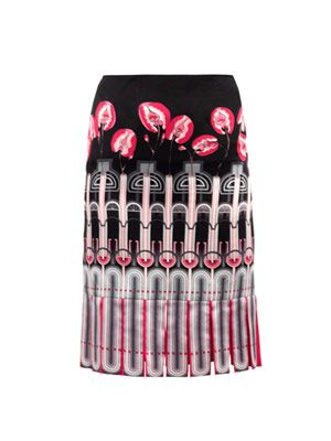 Greenhouse-print silk skirt