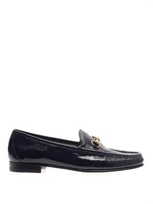 Patent leather horsebit loafers