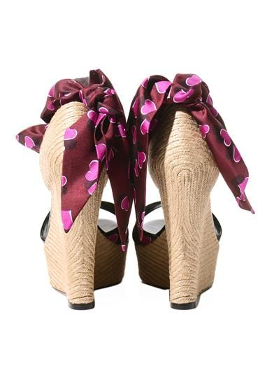 Gucci Carolina raffia & silk wedge sandals