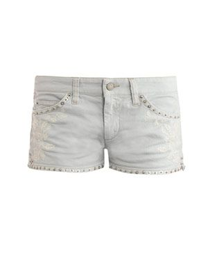 Contrast embroidered denim shorts