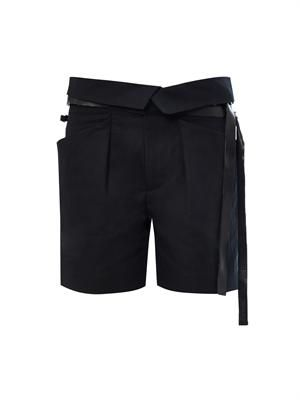 Devi leather-belt shorts